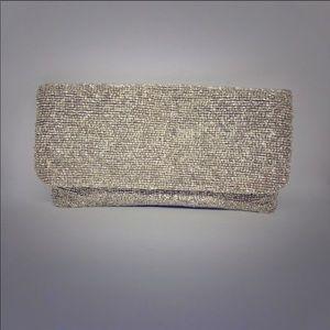 Moyna beaded clutch in M silver